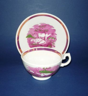Pink Lustre 'Cattle' Porcelain Cup and Saucer c1830